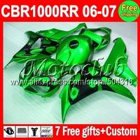 7gifts Black flames green For HONDA CBR 1000RR CBR1000RR 06 07 2006 2007 80MC1262 CBR 1000 RR CBR1000 RR  Bodywork Fairing
