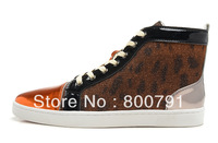 Men's Women's Black/Gold Patent Leather Toe Brown Canvas Red Bottom High Fashion Lace Up 2013 Sneakers Unisex Flat Casual Shoes