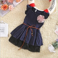 Girls Dresses 2013 New Fashion Top Quality Dark Blue Short Sleeve Dots Stripe Flower Kids Girl Dress with Belt summer 1pc 2-7Y