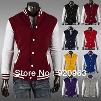 new 8 color classic men's short paragraph cardigan coat collar Fleece Hoodie baseball trade