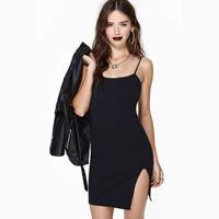 2014 New Fashion Spaghetti Strap One-piece Dress Black Single Slits Sexy Women's Dress Plus Size