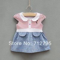 Baby girls summer stripe one-piece dress
