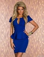 N118 2014 New Women's Fashion Skinny Ruffles Deep V Neck Sexy Dress, Club wear Dress Free Shipping Drop Shipping