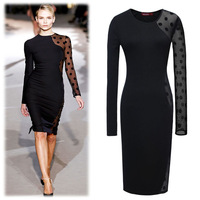 spring new 2014 Women long sleeve lace Mesh patchwork knee-length pencil dress plus size women dresses club wear sexy dress