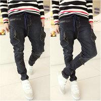 free shipping  men personality jeans slim skinny pants harem pants boys pants