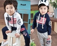 Boys/girls clothing set for autumn & spring children hooded sport suits,Sweatshirt+pant baby clothes/costume kids wear free ship