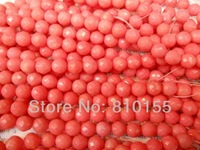 2strands/lot 8mm Natural Pink Coral Beads Faceted Round 15.5'' Full Strand Grade A 96pcs