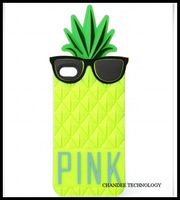 1pc retail PINK rubber Pineapple 3D Silicone Case rubber cover case for iPhone 4 4g 4s 5 5s with retail package