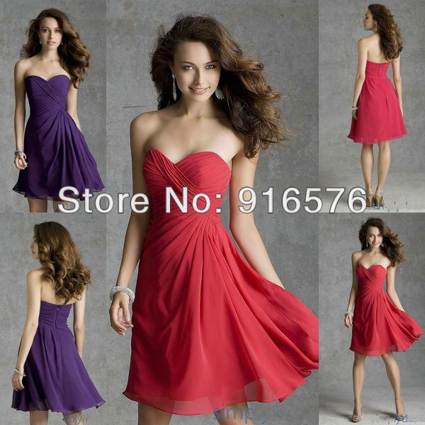 A-line Chiffon Ruched Bodice Grape Purple Short Strapless Sweetheart Bridesmaid Dress Wedding Gowns(China (Mainland))