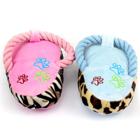 E leopard print short plush slippers pet toy cat toy cotton rope toy flannelet sound toys