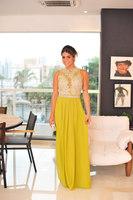 Yellow New Style 2014 Amazing Design High Neck Appliqued Chiffon Cap Sleeve Sleeveless Straight Froam Evening Dresses Prom