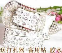 Crystal women's belt Women rhinestone full rhinestone diamond white genuine leather cowhide belt strap