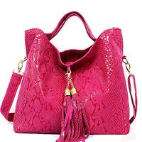 Serpentine pattern women's cowhide handbag bag 2013 embossed bridal bag the trend one shoulder cross-body bags large