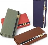 2014 new  brand nubuck leather  bowknot women's wallet long design wallets ladies' wallets purses wholeslae free  shipping