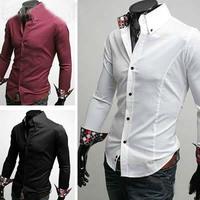 Hot! Free shipping Men's long-sleeved shirt casual men's long-sleeved shirt pocket plaid trim size M-XXL