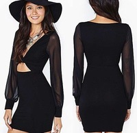 Hot Sales ! Women's New Sexy Dress Deep V-neck Chiffon Long-sleeved Body-con Skirt RCC-D263