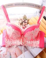 free shipping,2014 Fashion Lace women deep-V underwear set sweet sexy push up bra sets SH223 Purple,pink,Three-breasted,B/C cup