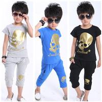 fashion cotton boys clothing sets Summer Skeleton short sleeve t shirts & fifth pants children suits gray/black/blue 5sets625061