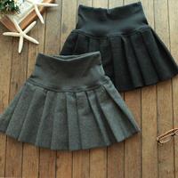 2014 winter pleated skirt woolen skirt bust skirt preppy style vintage  high waist short skirt female, free shipping