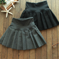 2014 winter pleated skirt woolen skirt bust skirt preppy style vintage  high waist short skirt female, free shipping