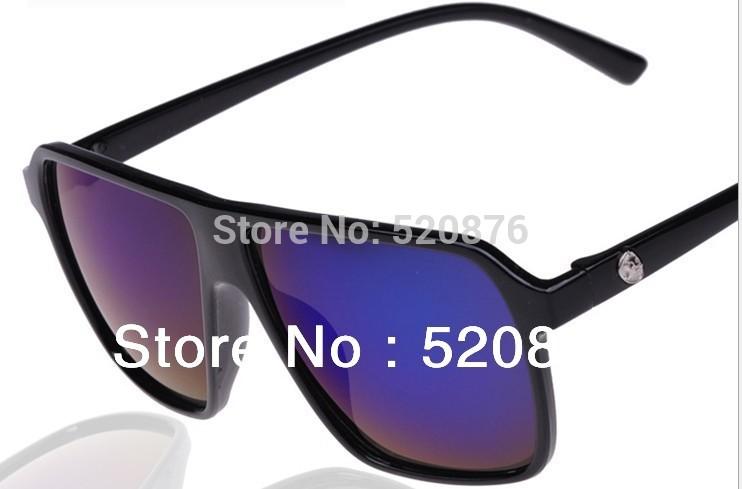 metal skull big box sunglasses women and men Sun glasses female sunglasses fashion reflective sunglasses free shipping(China (Mainland))