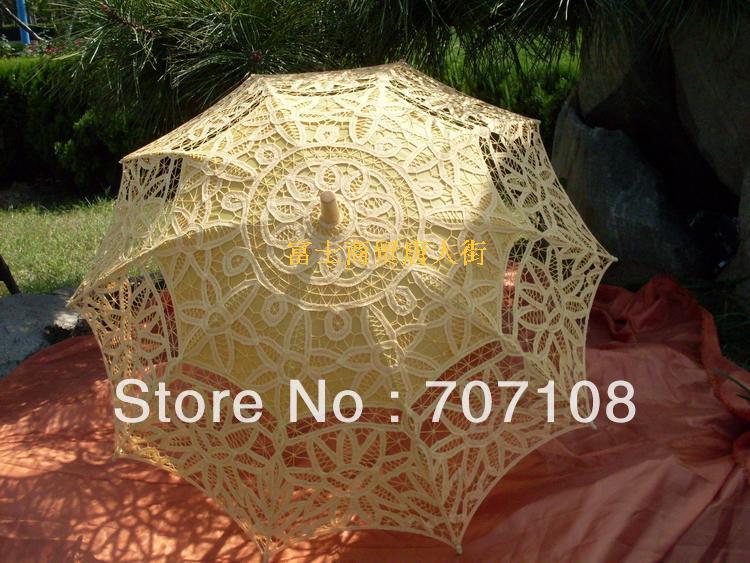 Cor amarela Weddding bordado Lace Umbrella guarda sol guarda sol Top venda Royal estilo europeu(China (Mainland))