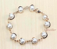 Free Shipping Italina Rigant Fashion Wholesale Jewelry 18k rose gold plated Austrian imitation pearl Crystal Bracelet Gift