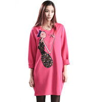 women's 2014 spring applique  long-sleeve loose plus size one-piece dress
