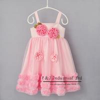 Children Dresses 2015 White And Pink Cute Flower Suspender Dress Kids Bridesmaid Dress Girl Party Dress 3-7 Age Children Cloths