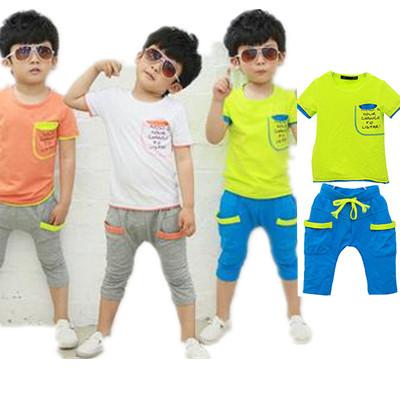 2014 boys suits letters sleeve pocket stitching summer models cotton leisure suit children' clothing girls baby kids set TZ05228(China (Mainland))