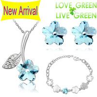 2014 wedding bridal Free Shipping 18KGP Austrian Crystal Flower Pendant  fashion Jewelry sets Necklace  Earrings bracelet 80019