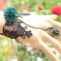 Fashion vintage lace pearl bracelet ring one piece chain big flower wrist length flower formal dress accessories female