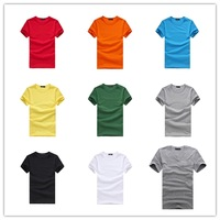 Brand New Slim Fit Black White Grey Green Red Orange Yellow Blue Short Sleeve Men's Tees Tops!! V-neck and O-neck Casual T shirt