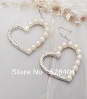 Fashion pearl stud earring heart earrings anti-allergy fashion girls