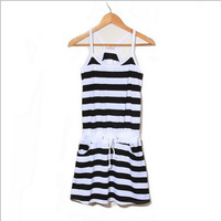 Summer sports casual women's suspender skirt black and white horizontal stripe 20d917a  summer dresses,