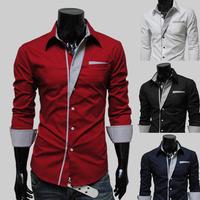 HOT!! stripe decoration long-sleeve personalized slim shirt  best brand checked dress shirts for men designer