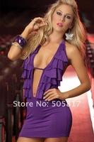 Sleeveless New Free Shipping Ladies Front Open Halter Lingerie Mini Dress Sexy KTV Club Wear Dance Wear Purple MN22
