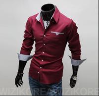 HOT! New Item Design Fashion Men's Casual Slim long- sleeve shirt 3 colors Size:M~3XL