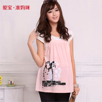 2014 summer maternity t-shirt mom maternity faux 2 piece knitted top fashion cute print t-shirt for pregnant women