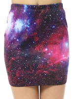 Summer 2014 Harajuku High Waist Purple Galaxy Star Space Cosmos Digital Printed Pencil Short Skirt Sexy Bandage Bodycon Skirt