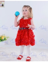 2014 new brand design novelty rose flower  baby girls  princess dress  Free shipping wholesale 3 colors with bow belts