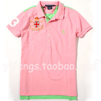 Fashion summer sexy 2013 women's polo cotton patchwork green slim casual all-match short-sleeve T-shirt