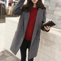 2014 new fashion Korean edition slim women's winter coat  female Wool Blends outerwear coat Grey Navy Plus size for women S-XL