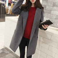 2014 new fashion Korean edition slim women's winter coat  female Wool Blends outerwear coat Grey Navy Plus size for women S-XL
