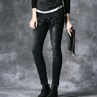 2014 New Spring Summer Women Jeans Mid Elasticity Skinny Pencil Embroidered Plus Size Denim Brand Plus Size XL Trousers  Cotton