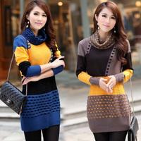 Winter slim medium-long long-sleeve turtleneck sweater basic stripe  pullover  for women Batwing sleeve