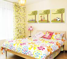 Hot Vender 3 Piece Wall Art Imagem Romântico Para Bed Room pintura de parede dos desenhos animados para crianças em Canvas Wall Decor Imagem Moderna(China (Mainland))