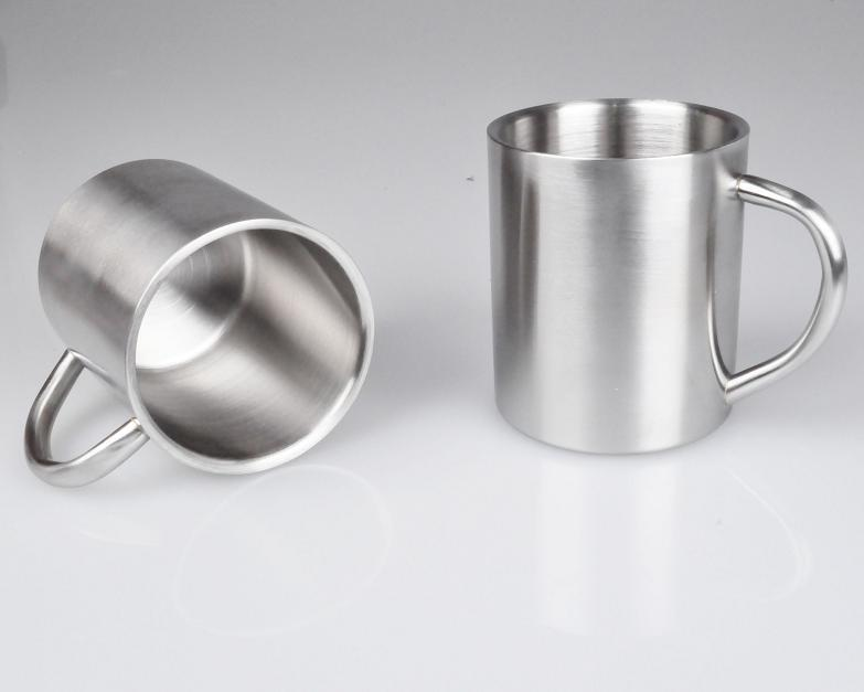 300ml Stainless steel double layer mug creative coffee cup child cup 2pcs/lot free shipping(China (Mainland))