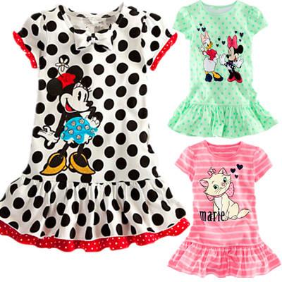 2014 children dress wholesale and retail Minnie cartoon little striped kitty dot dress Girls baby girls clothing dresses kids(China (Mainland))
