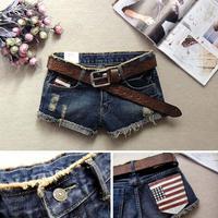 2014 New arrival Promotion Lady Denim Shorts S M L XL Women's fashion shorts America flag denim shorts jeans female